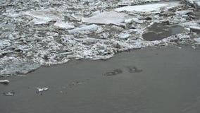 Zamarznięta lodowa rzeka topi w wiośnie z lodowy płatków płynąć Krakingowy lodowy unosić się na rzece w wiosna czasie globalny zdjęcie wideo