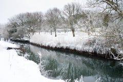 zamarznięta lodowa rzeki śniegu zima Obrazy Royalty Free