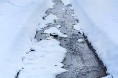 Zamarznięta mała rzeka na zima zimnym dniu w miasto parku obraz royalty free