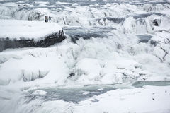 Zamarznięta majestatyczna Gullfoss siklawa lub Złoty spadek przy zimą, Iceland Zdjęcie Royalty Free