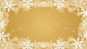 Zamarznięta płatek śniegu ramy animacja - złoty kolor royalty ilustracja