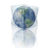Zamarznięta planety ziemia. Północ I Południe Ameryka. ilustracja wektor