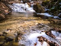 Zamarznięta rzeka przy wiosną obraz royalty free