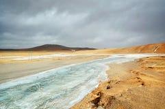 Zamarznięta rzeka w Tybet plateau Fotografia Royalty Free