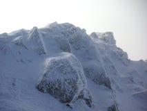 Zamarznięta skała zakrywająca z śniegiem Obrazy Stock