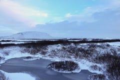 Zamarznięta woda w Iceland obraz royalty free
