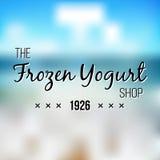 Zamarznięte jogurtu projekta odznaki i etykietki Lody loga projekta Sklepowy element ilustracja wektor