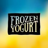 Zamarznięte jogurtu projekta odznaki i etykietki Lody loga projekta Sklepowy element Rocznika emblemata śmietanczarnia Lato czasu ilustracji