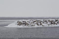 Zamarzniętej jezioro michigan Waszyngtońskiej wyspy Drzwiowy okręg administracyjny w zimie Zdjęcie Stock