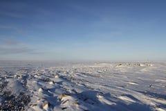 Zamarznięty arktyczny krajobraz z śniegiem na ziemi Obrazy Royalty Free