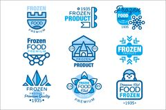 Zamarznięty artykuł żywnościowy ustawiający logów szablony wręcza patroszone wektorowe ilustracje w błękitnych kolorach ilustracji