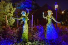 Zamarzni?ty Elsa i Ana iluminowali?my topiaries na pi?knej scenerii przy Epcot w Walt Disney World 2 fotografia royalty free
