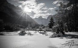 Zamarznięty jeziorny jasna w julian alps w czarny i biały, kranjska gora, Slovenia Obrazy Stock