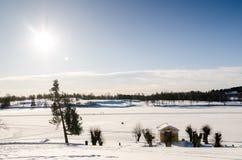 Zamarznięty jeziorny panoramiczny widok Kopiowa przestrzeń Zdjęcie Royalty Free