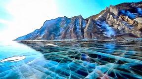 Zamarznięty jezioro w zimie, skałach i gładkim przejrzystym lodzie na ten jeziorze, royalty ilustracja