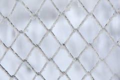 Zamarznięty kratownicy ogrodzenie Śnieg zakrywająca siatka Zimy hoarfrost obrazy royalty free