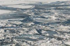 Zamarznięty lód i śnieg na Jeziornym Ontario Fotografia Stock