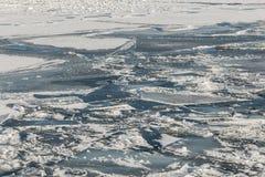 Zamarznięty lód i śnieg na Jeziornym Ontario Obraz Royalty Free