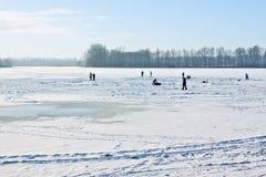 zamarznięty lodowy jeziorny łyżwiarstwo obraz stock