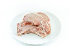 Zamarznięty mięso, wieprzowina kotleciki Obrazy Royalty Free