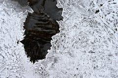 Zamarznięty strumień Piękny zimy natury tło Mróz, lód i śnieg w zimie, zdjęcie royalty free