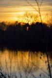 Zamarznięty zima krajobraz, piękny zmierzch zdjęcie stock
