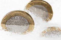 Zamarznięci euro Obrazy Royalty Free