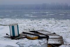 Zamarznięta Danube rzeka Obraz Royalty Free