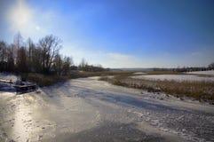 Zamarznięta Krutynia rzeka Zdjęcia Royalty Free