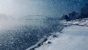 zamarznięta rzeczna zima zdjęcie royalty free