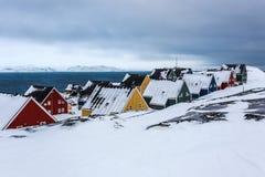 Zamarznięta ulica przy fjord Nuuk, Greenland Zdjęcia Stock