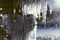 Zamarznięta wodna fontanna makro- Zdjęcia Royalty Free