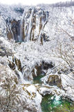 Zamarznięte siklawy przy Plitvice parkiem narodowym, Chorwacja Zdjęcia Stock