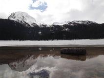Zamarznięty Czarny jezioro w wintertime Fotografia Stock