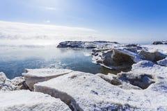Zamarznięty Jeziorny Ontario Obraz Royalty Free