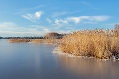 Zamarznięty jezioro na jaskrawym zima dniu fotografia royalty free
