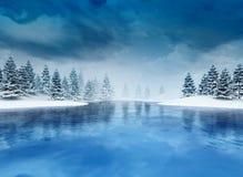 Zamarznięty lough z drzewami i chmurnym niebem Obrazy Stock