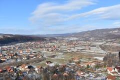 Zamarznięty miasteczko W Rumunia, Sovata - Zdjęcia Royalty Free