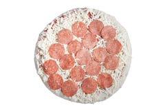zamarznięty perpperoni pizzy biel Zdjęcia Royalty Free