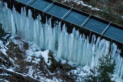 Zamarznięty siklawy zimy krajobrazu Brocken park narodowy Harz Zdjęcia Royalty Free