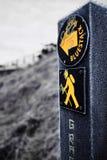 Zamarznięty znak Bluestack sposób w Donegal Irlandia podczas zimy Obraz Royalty Free