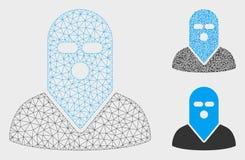 Zamaskowanej zabójca Wektorowej siatki trójboka i modela mozaiki 2D ikona royalty ilustracja