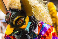 Zamaskowani tancerze Virgen Del Carmen Pisac Cuzco Peru Fotografia Royalty Free