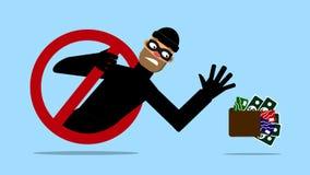 Zamaskowany mężczyzna, złodziej chce wp8lywy pieniądze i kartę kredytową Internetowa ochrona również zwrócić corel ilustracji wek royalty ilustracja