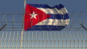 Zamazana falowanie flaga Kuba za drutu kolczastego ogrodzeniem Loopable 3D animacja zdjęcie wideo