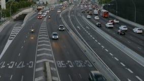 Zamazana miastowego ruchu drogowego scena Barcelona zdjęcie wideo