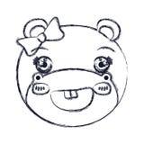 Zamazana sylwetki twarz żeńskiego hipopotama zwierzęcy śliczny wyrażeniowy ono uśmiecha się Obraz Stock