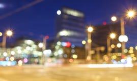 Zamazane latarnie uliczne przy nocą Obraz Royalty Free