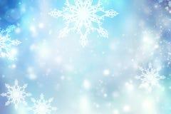 Zamazani płatki śniegu, zimy błękita tekstura Obrazy Royalty Free