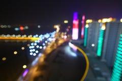 Zamazany abstrakcjonistyczny tło zaświeca, piękny pejzażu miejskiego widok obraz stock